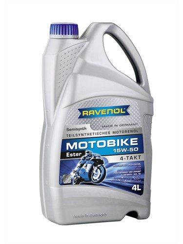 RAVENOL Масло моторное полусинтетическое Motobike 4-T Ester 15W-50 (4л) new